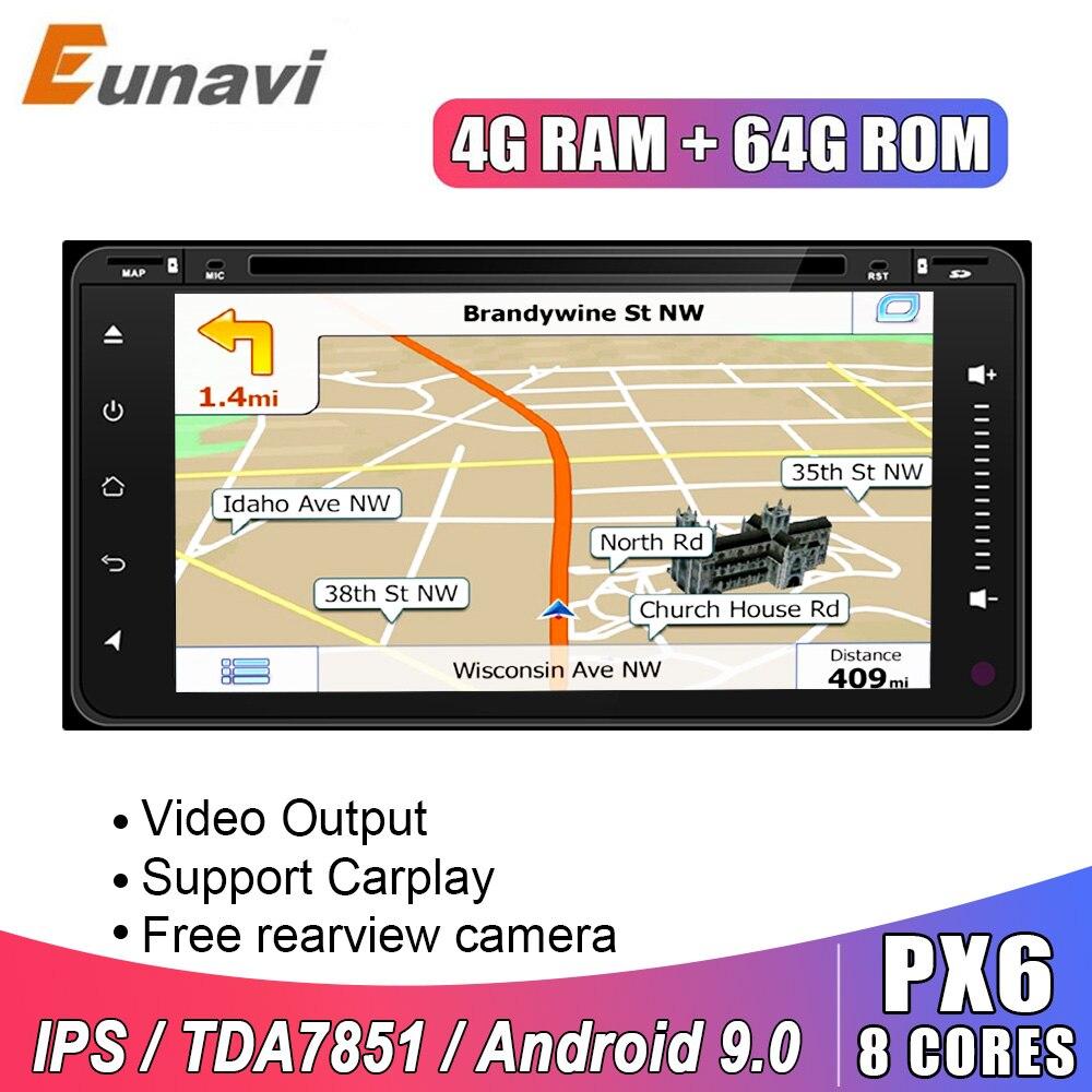 Eunavi 2 Din Android 9 автомобильный Dvd радио gps для Toyota Hilux Vios старый Camry Rav4 Prado 2003-2008 мультимедиа навигация головное устройство ips