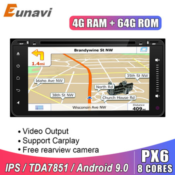 Eunavi 2 Din Android 9 Car Dvd radio GPS For Toyota Hilux Vios Old Camry Rav4 Prado 2003-2008 Multimedia Navigation Headunit IPS