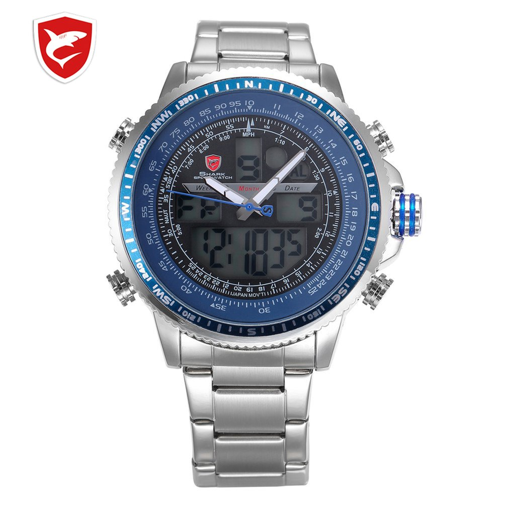 SH325N Luxury Winghead SHARK Sport Watch Men Black Dual Time Date Alarm Steel Band Relogio Masculino LCD Quartz Digital Watches