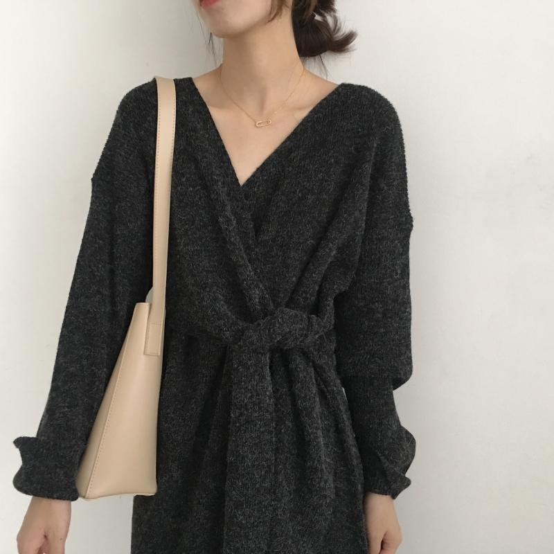 Hd35c6cdd9d0642e4b4aaaa863cc09470n - Winter Korean V-Neck Long Sleeves Knitted Dress