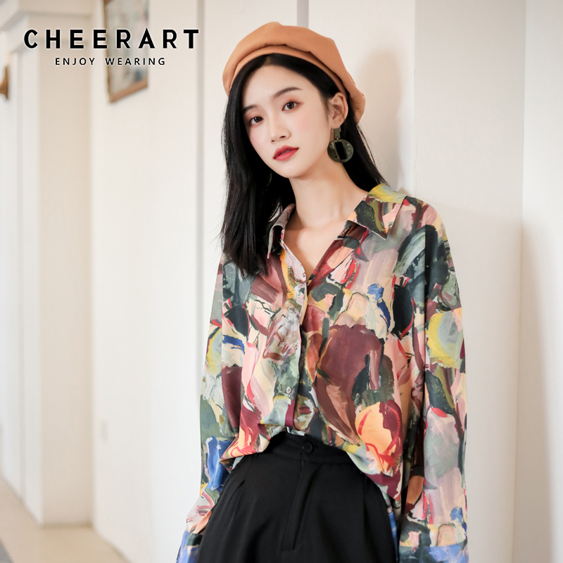 CHEERART Fall Womens Tops And Blouses Long Sleeve Button Up Shirt Impressionism Print Blouse 2019 Designer Shirts Clothes