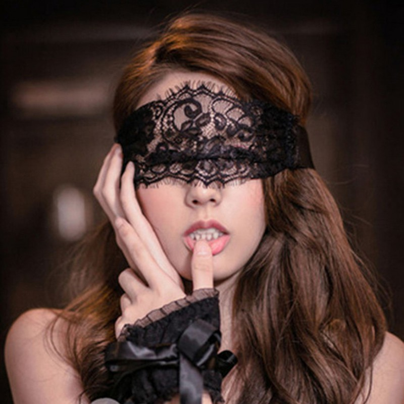 Women Lace Eye Cover + 1 Pair Gloves Hand Wrap Costumes Hot Sale Women Sexy Lingerie Arm Warmers Patry Accessories Black Solid