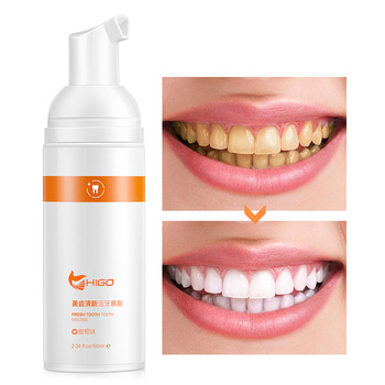 HIGO Orange Shining Tooth-Cleaning Mousse Toothpaste Remove Bad Breath Tooth Stains Foam Whitening Oral Hygiene Remove Dental image
