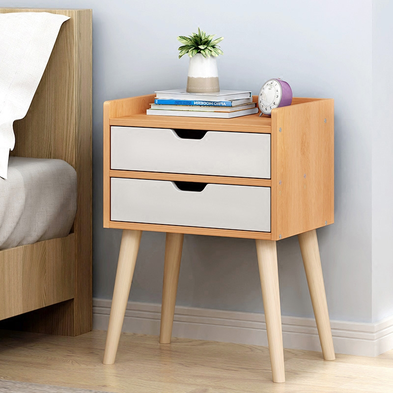 Nordic Bedside Cabinet Simple Modern Solid Wood Leg Storage Cabinet Bedroom Simple And Economical Bedside Cabinet