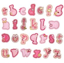 Нашивка с розовыми буквами, вышитыми цифрами и утюгом, аппликация «сделай сам» для детской одежды, нашивка с именем