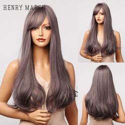 HENRY MARGU violet gris mettre en évidence Lolita Cosplay perruques avec frange latérale longues perruques droites pour les femmes blanches haute température Fibre