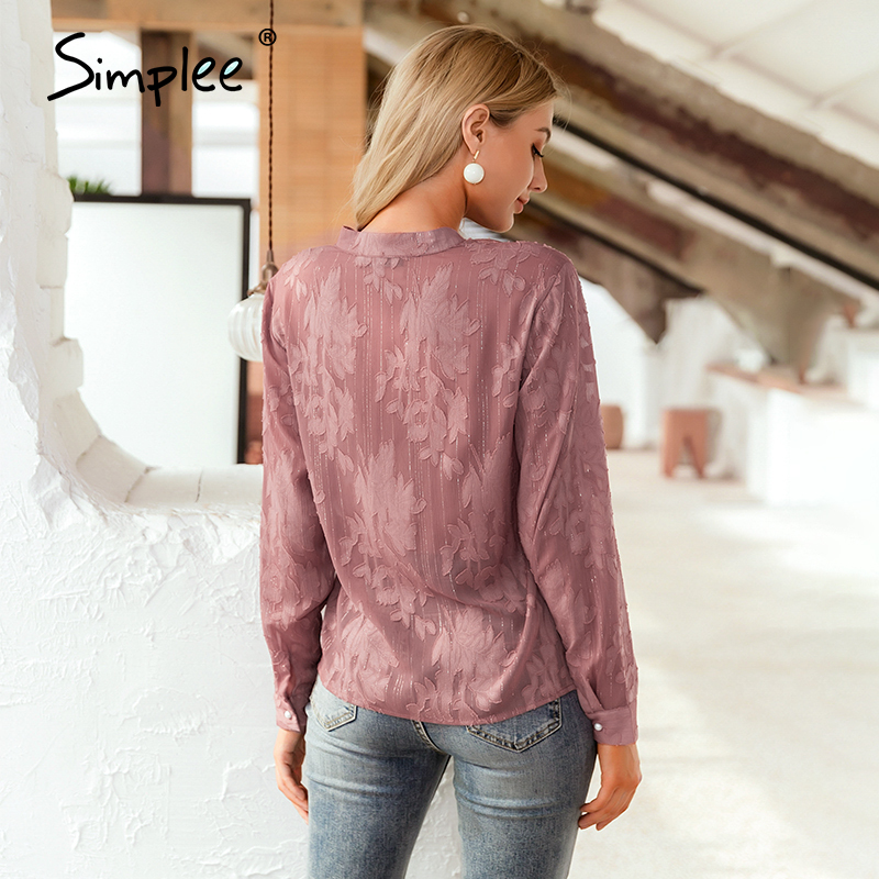Image 4 - Simplee Casual v neck floral women blouse shirt Sexy long sleeve pink female tops shirt Spring summer office ladies work blousesBlouses & Shirts   -