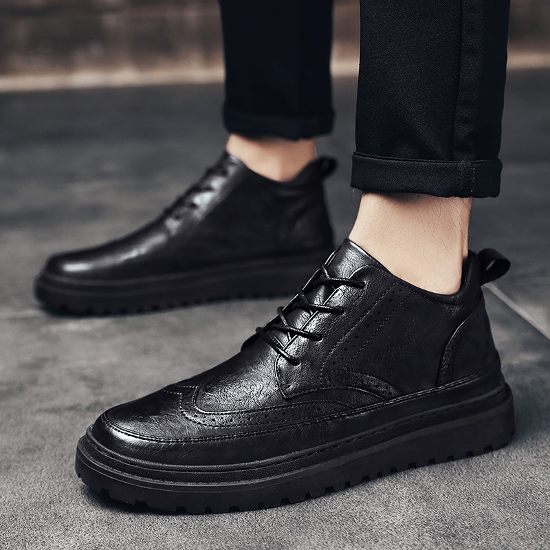 New High-top Leather Shoes Men's Casual British Wind Boots Black Winter Plus Velvet Warm Youth Mid-help Brock Martin Boots
