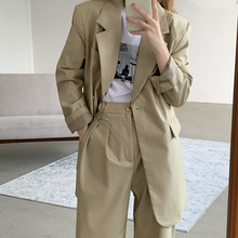 2 Piece Blazer Set Suits for Women Oversized Loose Casual Office Attire Business Outfits Best Friend Clothes Solid Suit Pants