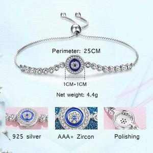 Image 5 - TONGZHE yaz koleksiyonu mavi şanslı göz bilezik 925 som gümüş bileklikler Charm temizle CZ kadınlar erkekler için güzel takı