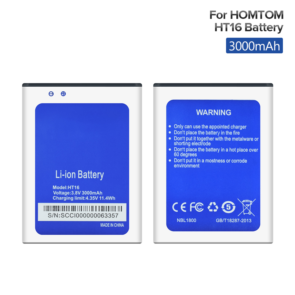 2019 New 3.8V 3000mAh Mobile Phone <font><b>Battery</b></font> Rechargeable For <font><b>HOMTOM</b></font> HT16 HT3 HT17 HT7 Pro <font><b>S16</b></font> Smartphone Lithium Li Ion <font><b>Battery</b></font> image