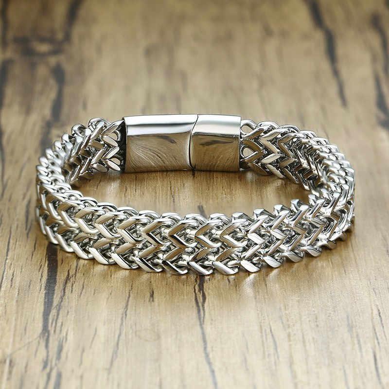 Mannen Bali Tulang Naga Zilver Kleur Dubbele Rijen Vossestaart Franco Tarwe Ketting Armband In Roestvrij Staal 12Mm Wide Heavy polsband