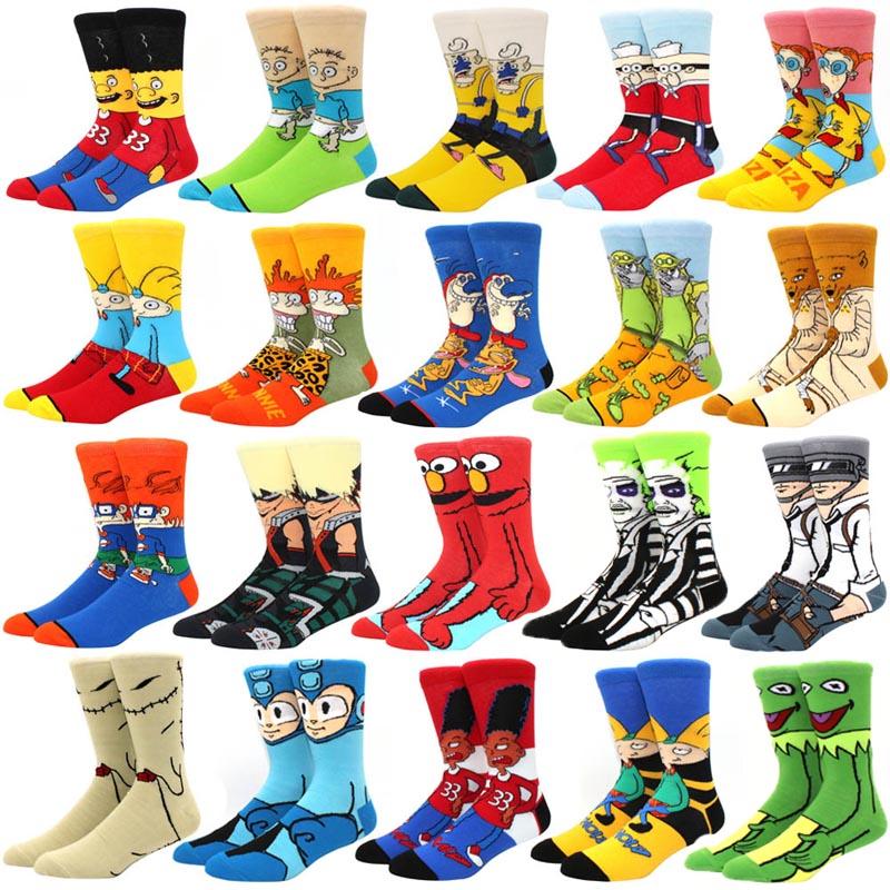 Fashion men\'s funny socks fashion women\'s personality anime socks cartoon fashion skarpety high quality sewing pattern