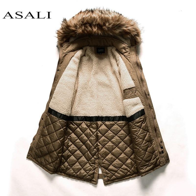 Thick Warm   Parkas   Coat Winter Jacket Men Casual Long Outwear Hooded Fur Collar Windbreaker Lining Cotton-padded   Parka   Jackets