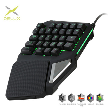 Programmable Keys Delux T9 Pro Single Handed Game keyboard one hand Ergonomic Gaming Keypad For PUBG gun PC Laptop 1
