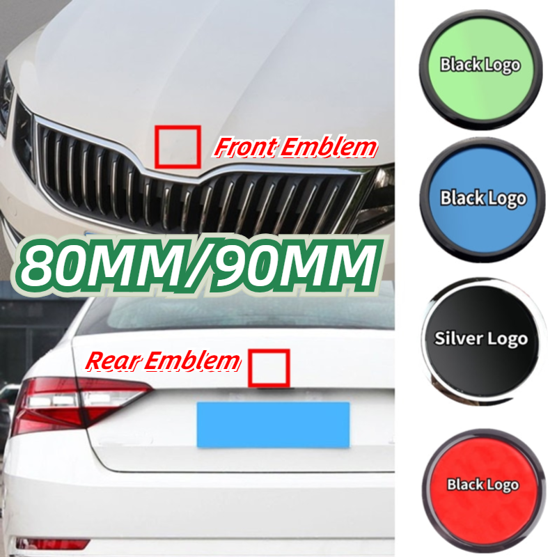 Emblema ABS de 80mm y 90mm para Skoda Fabia 1 2 Octavia a7 RS Superb Rapid Yeti Karoq Vision, pegatina frontal para maletero trasero