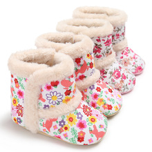 Shoes-Boots Infant Newborn-Baby Winter Leopard Cotton for And Snow Padded Print Floral-Wool