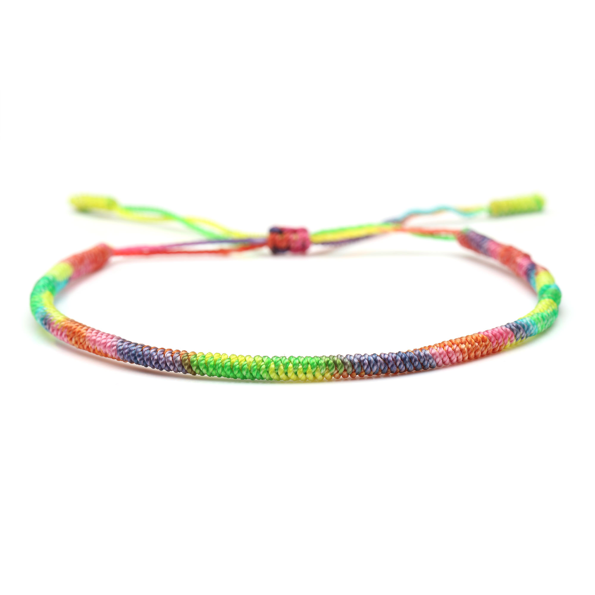 Tibetan Buddhist Lucky Knot Gradient Color Handmade Bracelet 2019 New Fashion Colorful String Hand Knotted Friendship Bracelets