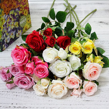 5 Heads/Branch Fresh rose Artificial Flowers Real Touch Home Wedding Party Decor Fake Small Rose Bouquet
