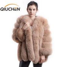 QIUCHEN PJ8128 2020 חדש הגעה משלוח חינם נשים החורף אמיתי פרוות שועל מעיל מכירה לוהטת גדול פרווה ארוך שרוול אופנה בנות מעיל