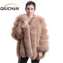 QIUCHEN abrigo PJ8128 de piel de zorro auténtica para mujer, chaqueta de manga larga de pelo grande, para invierno, 2020