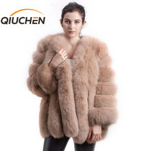 Qiuchen PJ8128 2020新着送料無料の女性冬コートホット販売ビッグ毛皮長袖ファッション女の子ジャケット