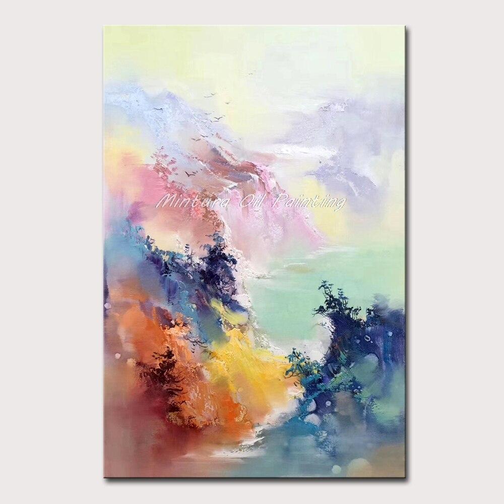 Mintura ручная роспись маслом на холсте красивое Рисование абстрактного пейзажа Настенная картина отель украшение для комнаты без рамки - Цвет: MT161689