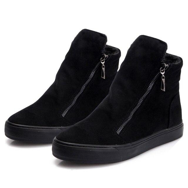 النساء أحذية الشتاء أفخم الدافئة الكاحل الثلوج مع سحابات السيدات أحذية منصة الفراء الراحة سميكة تباع بوتاس موهير الأسود