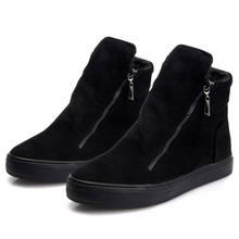 Women Boots Platform-Shoes Ankle-Snow Black Winter Ladies Zip Zipper with Fur Comfort