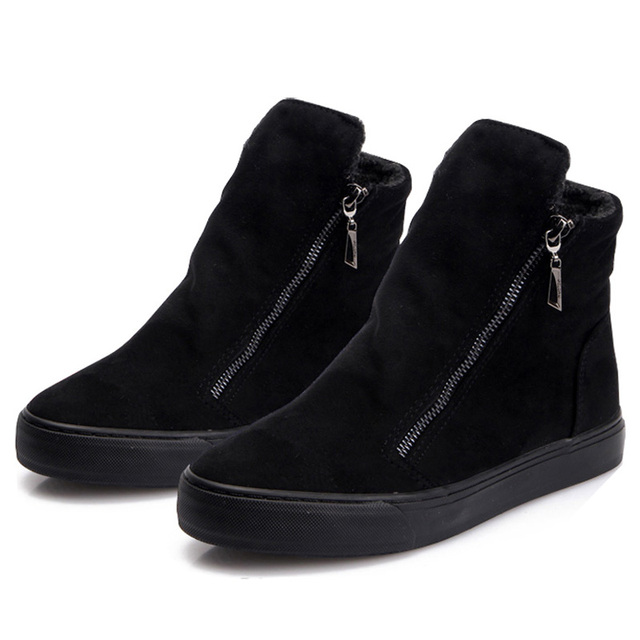 Women Boots Winter Plush Warm Ankle Snow with Zippers Ladies Fur Platform Shoes Comfort Thick Sold Black Botas Mujer