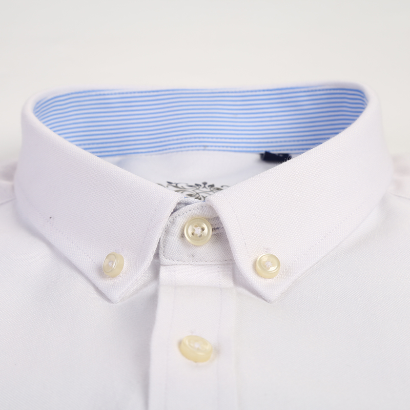 Men's Plus Size Casual Solid Oxford Dress Shirt Single Patch Pocket Long Sleeve Regular-fit Button-down Thick Shirts 2