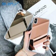 Raxfly ミラーケース iphone XR X XS 最大高級耐衝撃ケース iphone 7 8 6 6s プラス 5 5S 、 SE バックカバー Coque Funda
