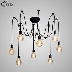 قلادة أضواء Lustres العنكبوت قلادة مصباح الإنارة متعددة قابل للتعديل الرجعية Hanglamp Abajur تركيبات إضائة Led المنزل E27