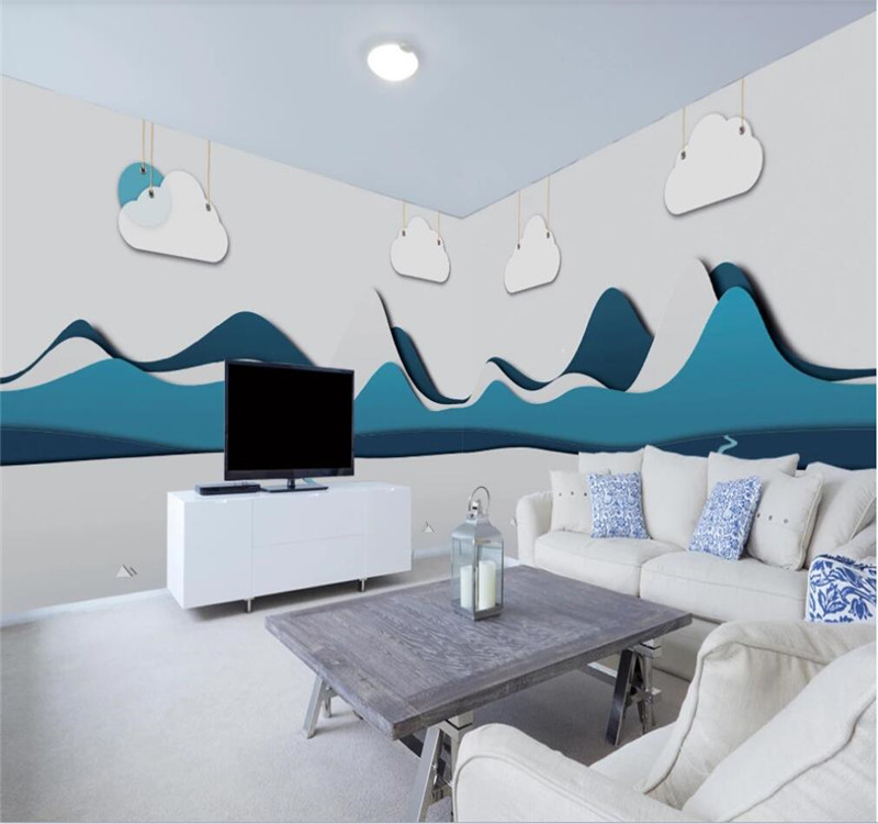 Custom Wallpaper Mural Photo Wall Modern Abstract Cartoon Landscape Children's Room Background Wall Decoration Painting