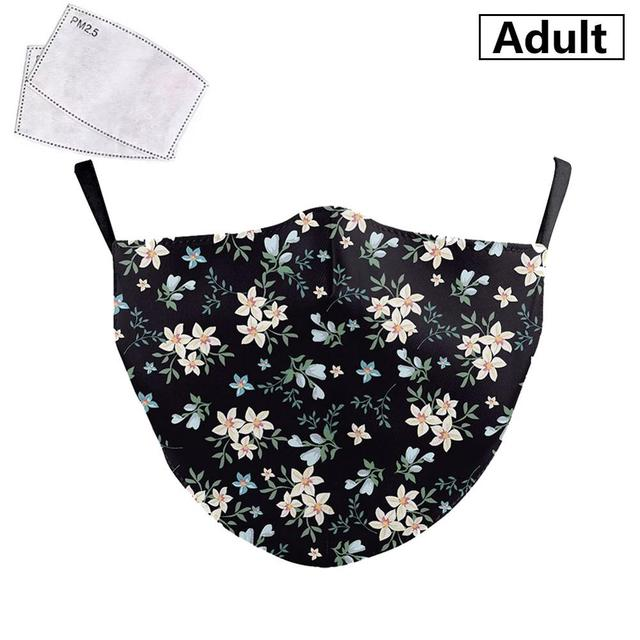 PM2.5 Face Adult Mask Plum blossom sunflower Print Mask Reusable Washable Filter Pad Pollution Activated Carbon Women Face Masks 5