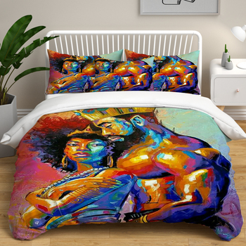 African Men DYI Printed Duvet Cover set Sexy Women oil Painting Pattern Double Bedding set Quilt Cover Pillowcase Comforter Set
