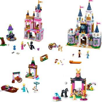Dream Castle Cinderella Sleeping Beauty Elsa Set Toys Model Building Blocks bricks Friends Princess lepin elsa anna ice dream romantic castle 25002 model building blocks cinderella princess castle 25006 city set legoings friends