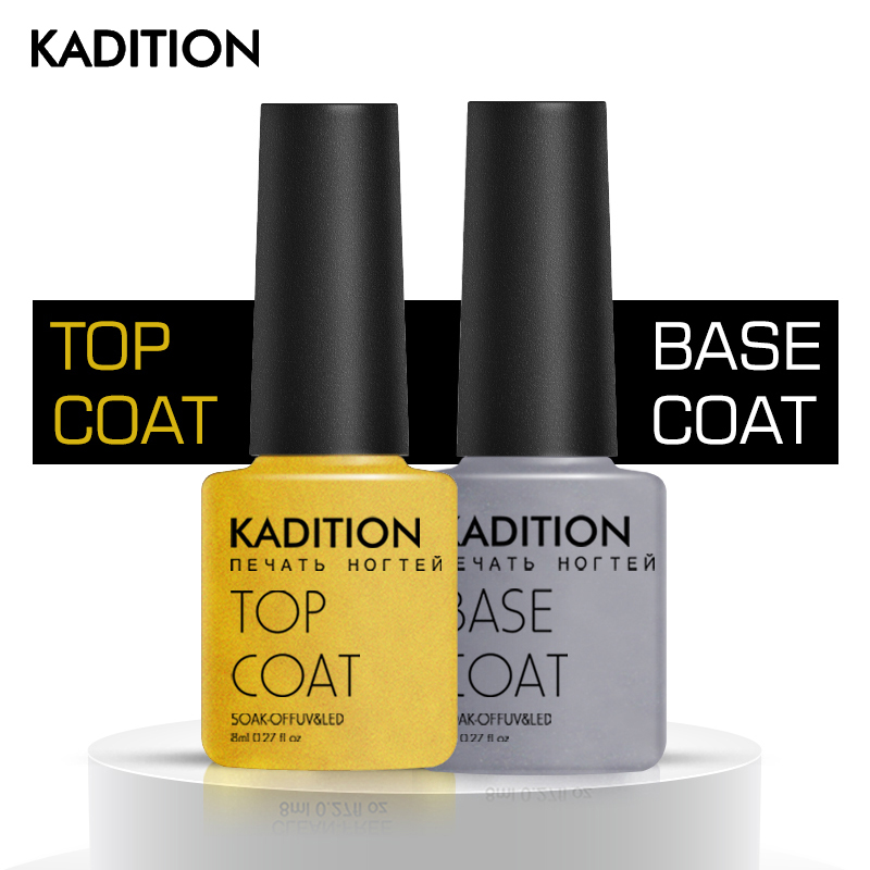 KADITION Sealing Beautiful Transparent Gel Lacquer Top And Base Coat Design Gel Nail Polish Varnishes Sticky Layer LED Nail Art