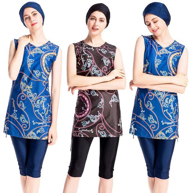 3PCS נשים אסלאמי מוסלמי שרוולים תחפושות צנוע בגדי ים שחייה Burkini רחצה חליפה וחוף מודפס בגד ים אופנה
