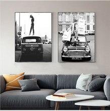 Toile de Style rétro, Photo de fille en noir et blanc, Vintage, peinture de rue, voiture rétro, Vogue, décoration de maison