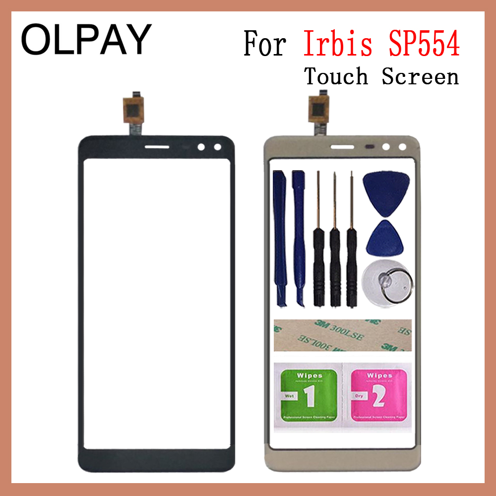 OLPAY 5.5 Inch Touch Screen For Irbis SP554 Touch Screen Digitizer Panel Front Outer Front Glass Lens Sensor Free Adhesive+Wipes
