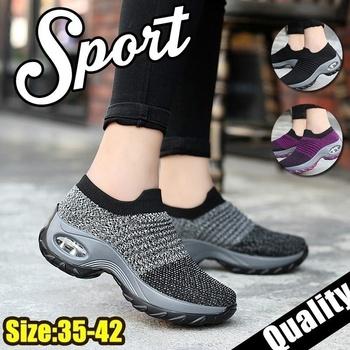 Damskie buty do chodzenia buty z siatką platforma mody Slip-On Sneaker poduszka powietrzna siłownia taniec nowoczesny buty męskie tanie i dobre opinie KAMUCC Mesh (air mesh) Wiosna jesień Dla dorosłych Med (3 cm-5 cm) Pasuje prawda na wymiar weź swój normalny rozmiar