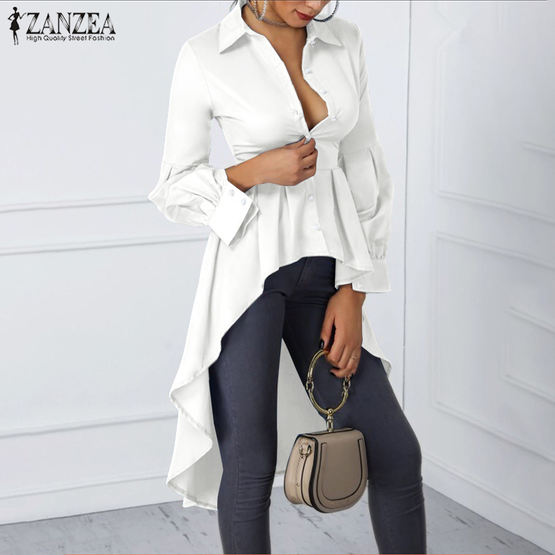 Women Tunic Tops 2019 Fashion Stylish Blouse Lantern Sleeve Shirts ZANZEA Ladies Casual Asymmetrical High Waist Buttons Blusas 7