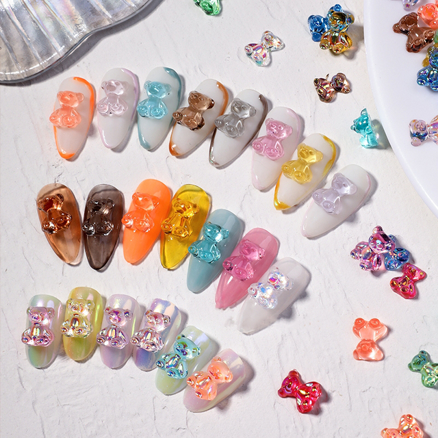 Mixed Size  Aurora Little Bear Nail Art Accessories Resin Kawaii Bear Stereo 3D Fashion Fingernail DIY Decoration 6