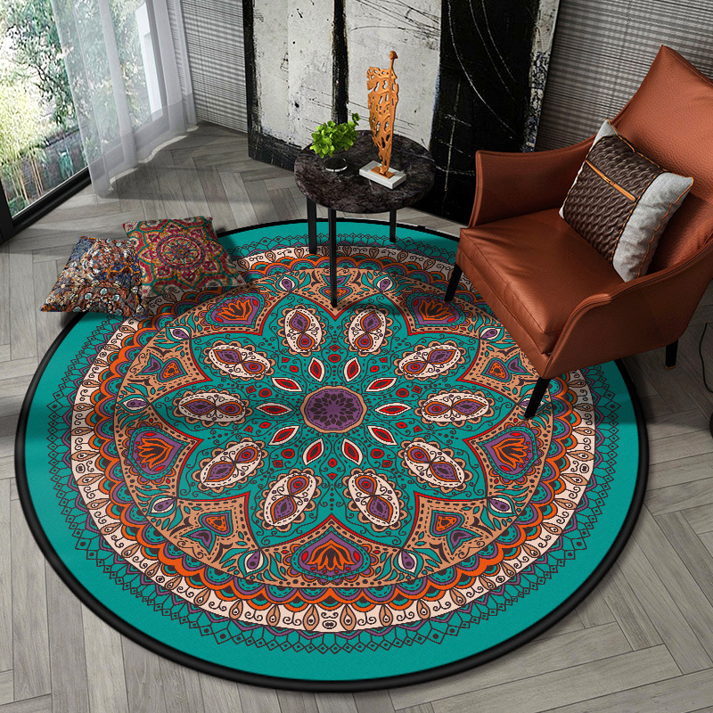 Bohemia Retro Mandala flower round door mat Wooden floor protection mat plush bedroom rug living room carpet custom made Carpet     - title=