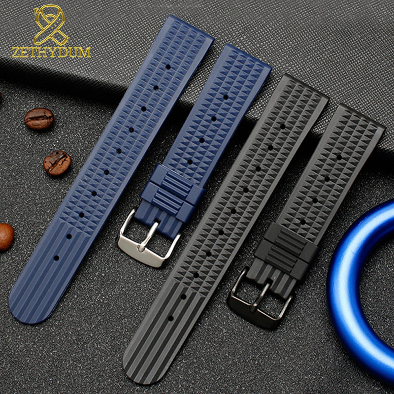Silicone Rubber Watch Strap 20mm 22mm Watchband For S-eiko SRP777J1 Watch Band Diving Waterproof Bracelet Blue Color