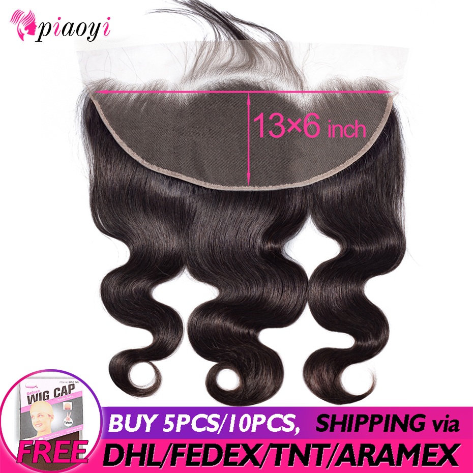 13X6 Lace Frontal Body Wave Ear To Ear Lace Frontal Closure Free Part With Baby Hair Pre Plucked Human Hair Piaoyi Remy Hair