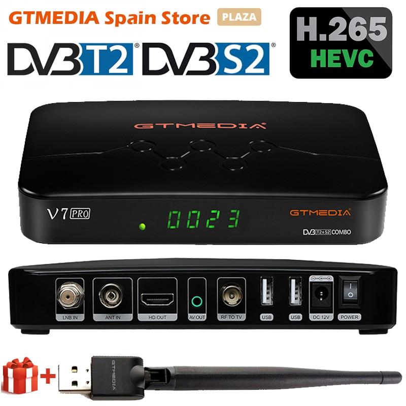 2020 GTMEDIA V7 Pro спутниковый тв приемник DVB-S2 S2X T2 комбо H.265 HEVC 10bit USB wi-fi, эмалированный около CA слот для карты TV BOX PK V7 плюс V7S