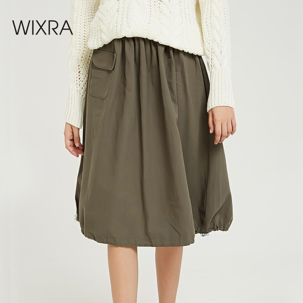 Wixra Women New Solid Skirts Knee Length Loose Lace-up Cool Skirt High Street Ladies Bottom 2019 Winter