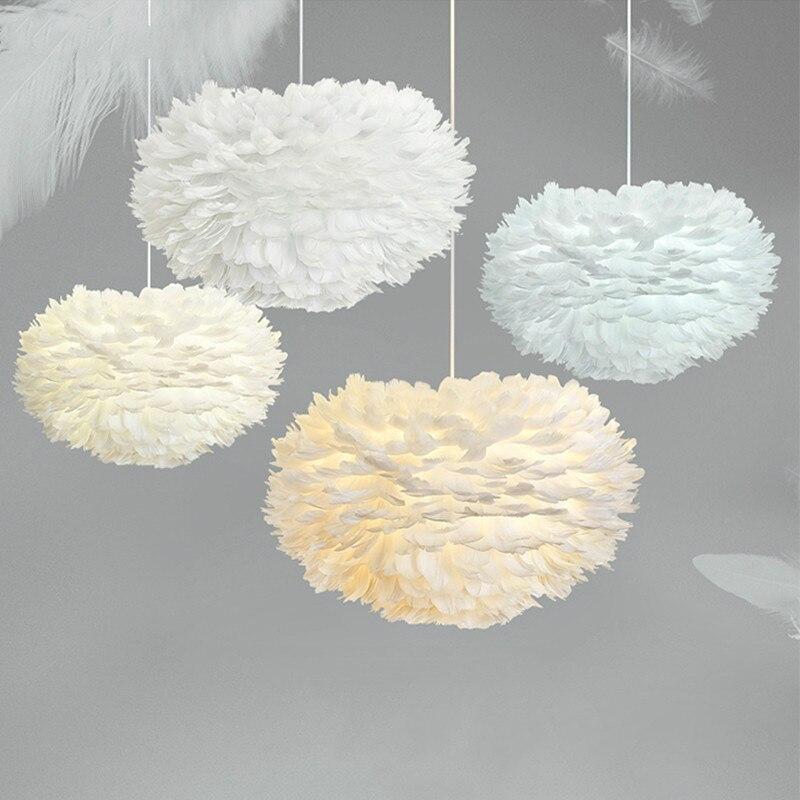 Modern Pendant Lights Feather Lamp Bedroom Hanging Lamp Goose Feather Hanglamp Loft Nordic Pendant Lamp Living Room Bedside E27
